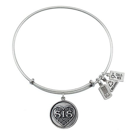 Wind & Fire Sis Filigree Heart Charm Bangle Bracelet | Eve's Addiction®