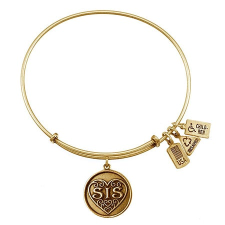 "Sis Filigree Heart Charm 7.5"" Adjustable Gold Bangle Bracelet by Wind & Fire 