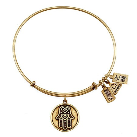 Hamsa Charm Gold Bangle Bracelet by Wind & Fire | Eve's Addiction®
