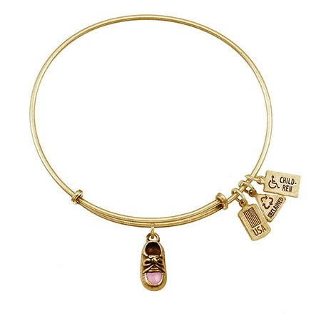 Pink Baby Shoe Charm Gold Bangle Bracelet by Wind & Fire | Eve's Addiction®