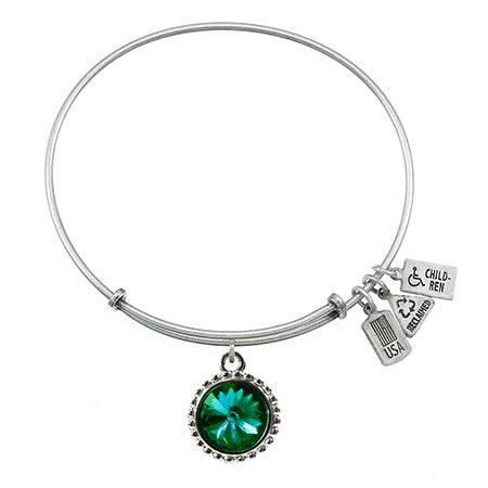 Wind & Fire May Emerald Swarovski Birthstone Charm Bangle Bracelet | Eve's Addiction®