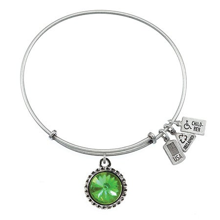 Wind & Fire August Swarovski Birthstone Charm Bangle Bracelet | Eve's Addiction®