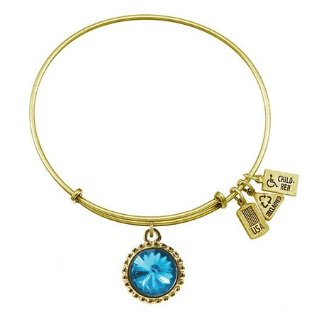 December Blue Topaz Swarovski Charm Bangle Bracelet in Gold | Eve's Addiction®