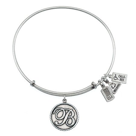 Engravable Letter B Initial Tag Bangle Bracelet from Wind & Fire | Eve's Addiction®
