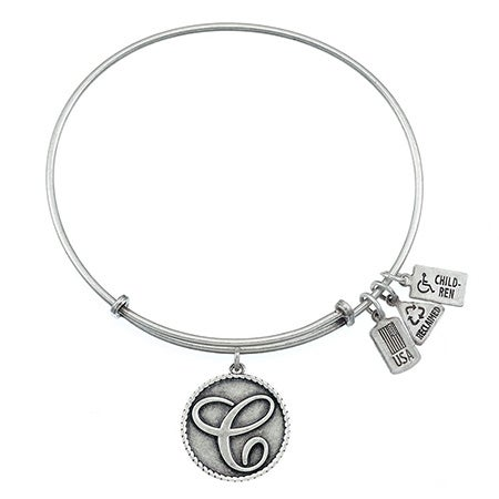 Wind & Fire Letter C Initial Charm Bangle Bracelet with Silver Finish | Eve's Addiction®
