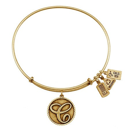 "Expandable Letter C Initial Charm 7.5"" Gold Bangle Bracelet 