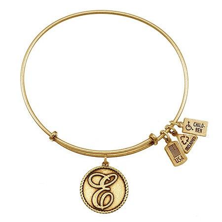 "Adjustable Letter E Initial Charm 7.5"" Gold Bangle Bracelet | Eve's Addiction®"