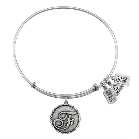 Wind & Fire Letter F Initial Charm Bangle Bracelet | Eve's Addiction®