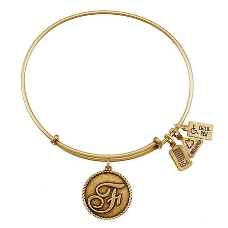 F Initial Round Tag Bangle Bracelet with Antique Gold Finish| Eve's Addiction®