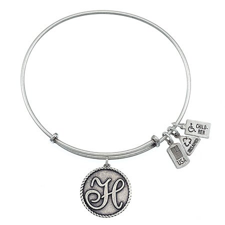 Wind & Fire Letter H Initial Dangling Charm Bangle Bracelet | Eve's Addiction®