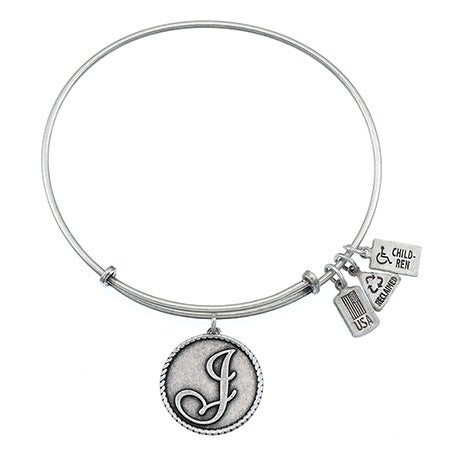 Wind & Fire Letter J Initial Engravable Charm Bangle Bracelet | Eve's Addiction®