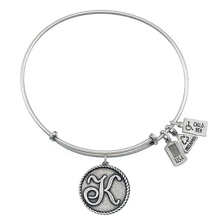 Wind & Fire Letter K Initial in Cursive Charm Bangle Bracelet | Eve's Addiction®