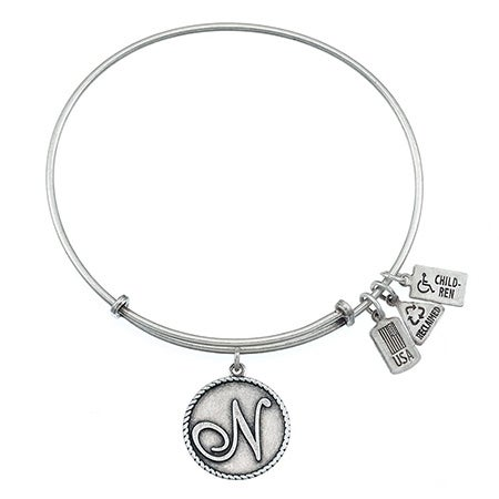 Wind & Fire Letter N Initial Charm Bracelet with Antique Silver Finish| Eve's Addiction®