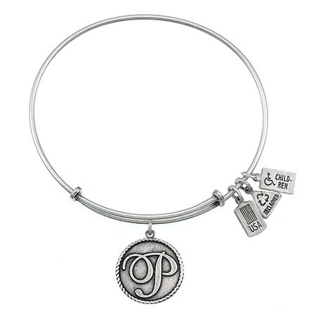 Wind & Fire Letter P Initial Charm Expandable Bangle Bracelet in Silver | Eve's Addiction®