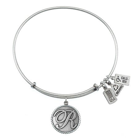 Wind & Fire Letter R Initial Charm Silver Bangle Bracelet | Eve's Addiction®