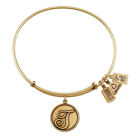 "Letter T Initial 3/4"" Dangling Round Charm Gold Bangle - Adjustable Lengths 