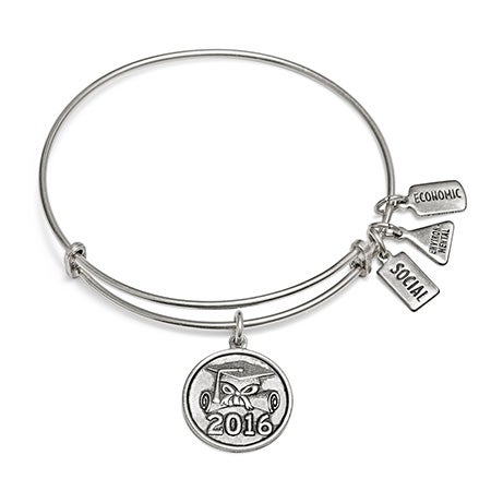 Wind and Fire 2016 Graduation Charm Silver Bangle