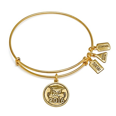 Wind and Fire 2016 Graduation Charm Gold Bangle
