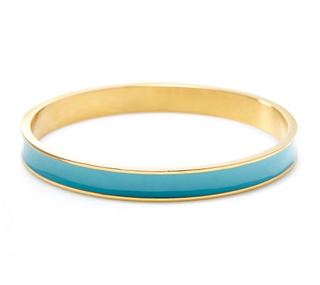 Thin Enamel Turquoise and Gold Bangle