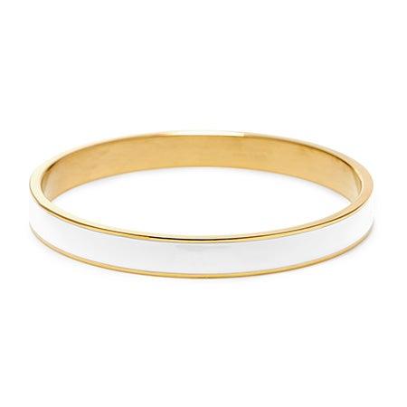 Thin Enamel White and Gold bangle
