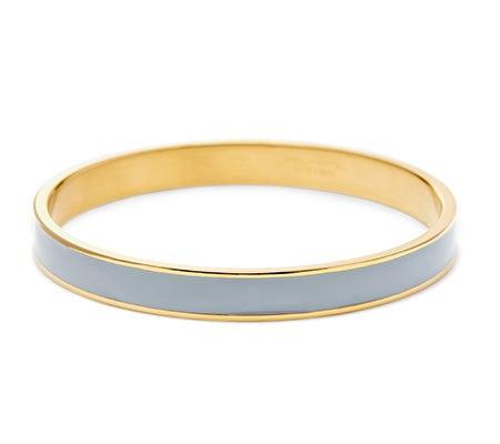 Thin Enamel Grey and Gold Bangle