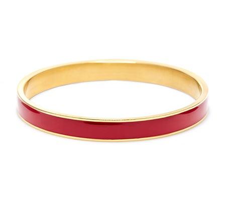 Thin Enamel Raspberry and Gold Bangle