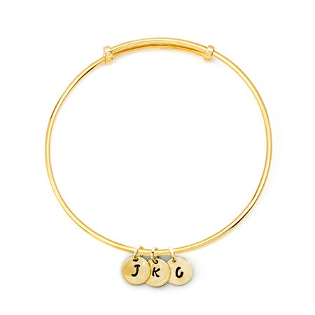 Hand Stamped Mini Three Initial Gold Bangle Bracelet