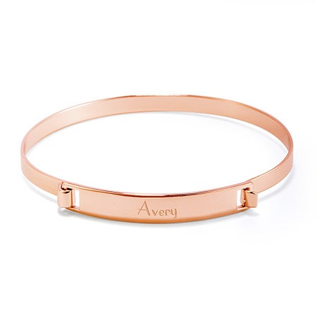 Hinged Custom Name Bar Bangle Bracelet in Rose Gold