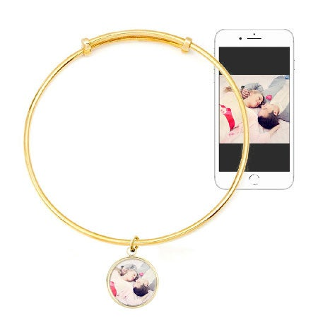 Custom Color Photo Bangle | Round Gold Bezel Frame
