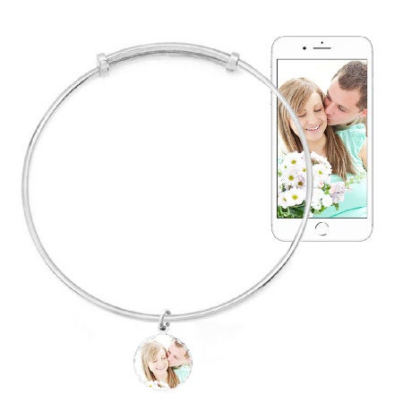 Custom Photo Bracelet Bangle & Diamond Cut Charm