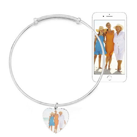 Heart Shaped Photo Charm Sterling Bangle Bracelet