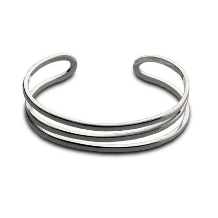 Sterling Silver Open Diagonal Cuff Bracelet | Eve's Addiction®