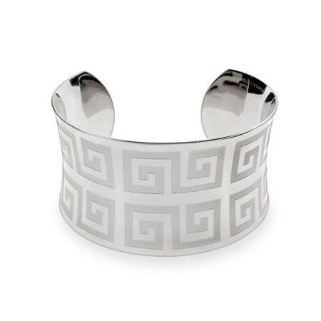 Ladies Greek Design Stainless Steel Cuff Bracelet | Eve's Addiction®