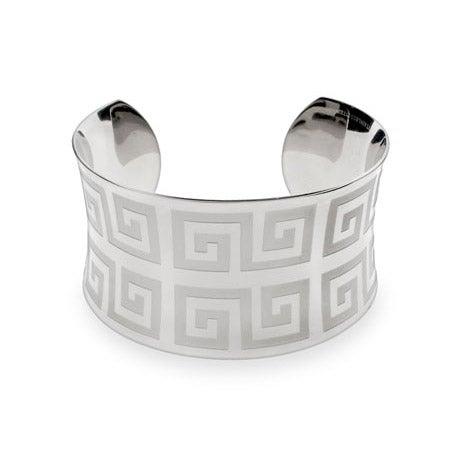 Ladies Greek Design Stainless Steel Cuff Bracelet | Eve's Addiction®