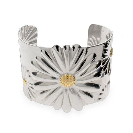 Stainless Steel Daisy Cuff Bracelet | Eve's Addiction