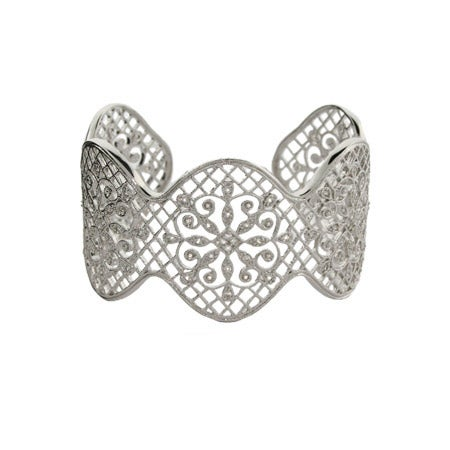 Glamorous CZ Vintage Design Sterling Silver Cuff Bracelet | Eve's Addiction®