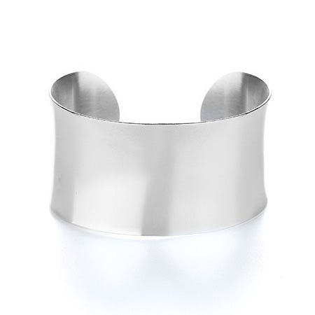 Stainless Steel Engravable Wide Cuff Bracelet | Eve's Addiction®