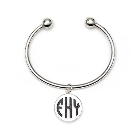 Acrylic Block Monogram Silver Cuff Bracelet | Eve's Addiction®