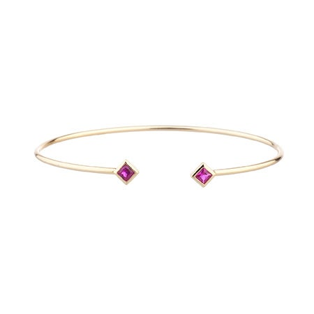Shashi Rhyan Thin Gold Cuff Bracelet with Fuchsia Accents | Eve's Addiction®
