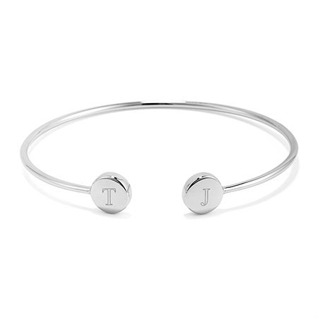 Sterling silver engravable initials open cuff bracelet, a valentines day gift for her