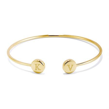 Engravable Signet Gold Cuff Bracelet