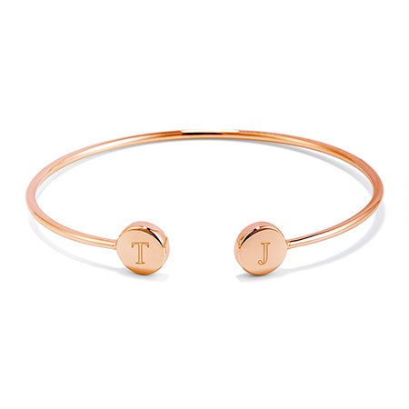 Engravable Rose Gold Cuff Signet Bracelet | Signet Jewelry