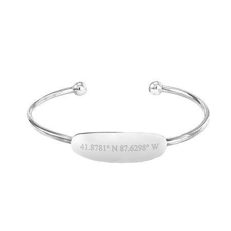 Baby Custom Coordinate ID Silver Cuff Bracelet