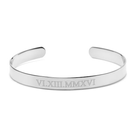 Roman Numeral Date Silver Cuff Bracelet | Eves Addiction