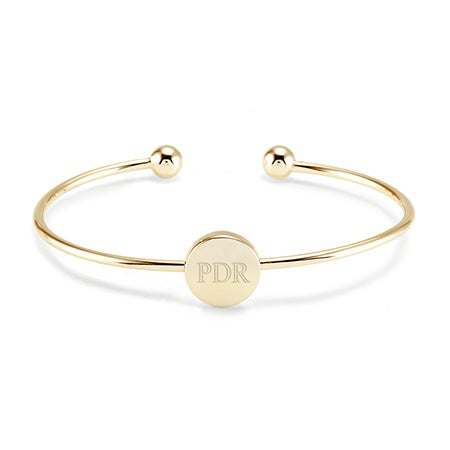 Gold Cuff Monogram Bangle Bracelet | Eve's Addiction