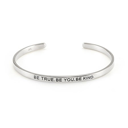 Be True Be You Silver Cuff Bracelet | Eve's Addiction