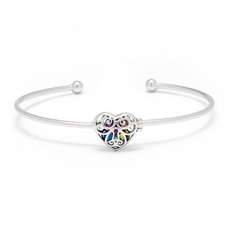 Silver Custom Heart Locket Bracelet | Silver Locket Cuff