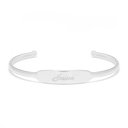 Open Silver Cuff Name ID Bracelet | Eve's Addiction