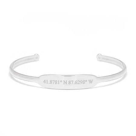 Matte Sterling Silver Coordinates Cuff Bangle Bracelet