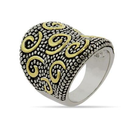 Designer Inspired Gold Swirl Bali Style Ring | Eve's Addiction
